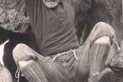 Valerián Karoušek - sochař a horolezec, člen československé expedice Peru 1970 , na Suchých Skalách v roce 1967.