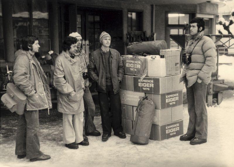 Cestou do Švýcarska - zleva: Milan Motyčka, Petr Gříbek, Pavel Koubek, Jan Martínek a Martin Novák