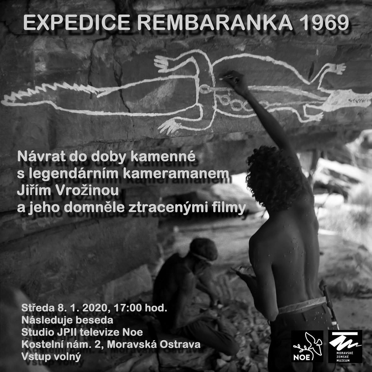 Pozvánka na ostravskou předpremiéru závěrečného dílu filmového cyklu Expedice Rembaranka 1969